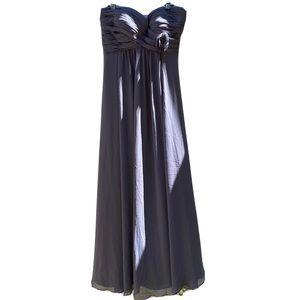 Bill Levkoff maxi bridesmaid dress slate gray 12